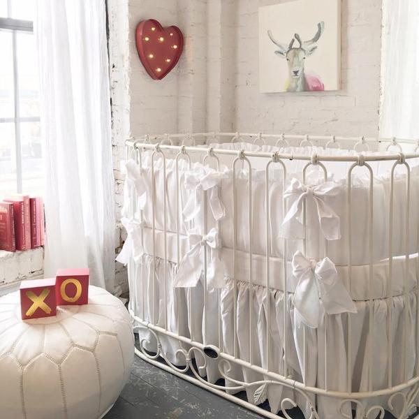 Jadore Crib Cradle Distressed White