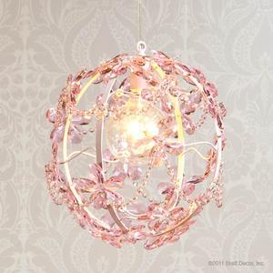 pink floral round chandelier