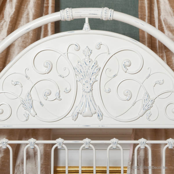 chelsea iron headboard white
