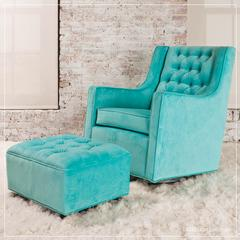 tiffany blue glider and gliding ottoman