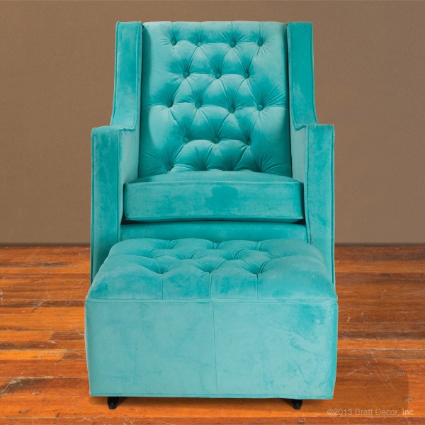 Tufted Glider And Ottoman Tiffany Blue