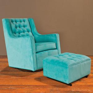tufted glider and ottoman - tiffany blue