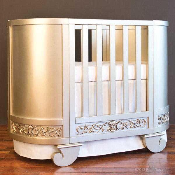 chelsea darling crib cradle ant. silver