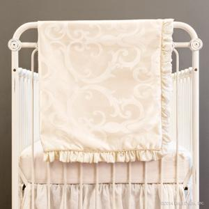 ivory stripes damask pram blankets