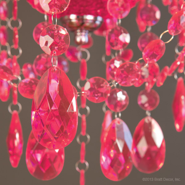 hot pink teardrop chandelier - mini