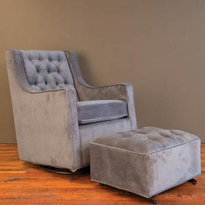 tufted glider and ottoman - charcoal