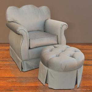 adult silver glider and ottoman