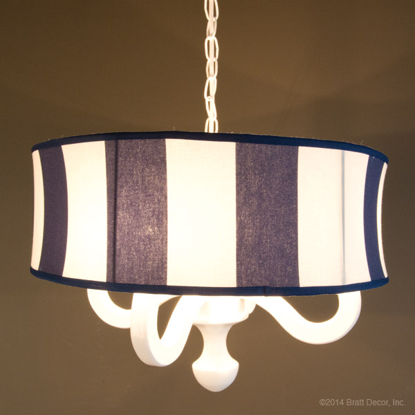 navy and white drum chandelier