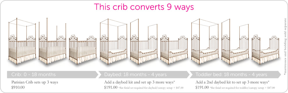 gold parisian 9in1 convertible baby crib