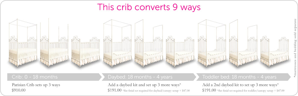 white parisian 9in1 convertible baby crib
