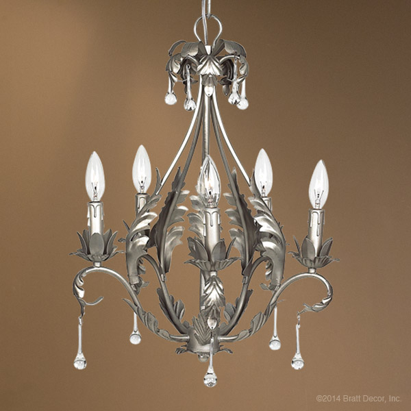 chandeliers light lights lighting beads - Flora Pewter Chandelier