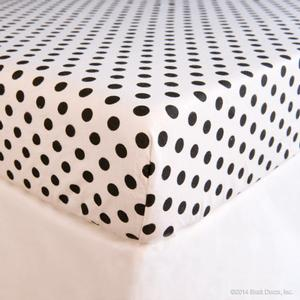 black polka dot flannel crib sheet