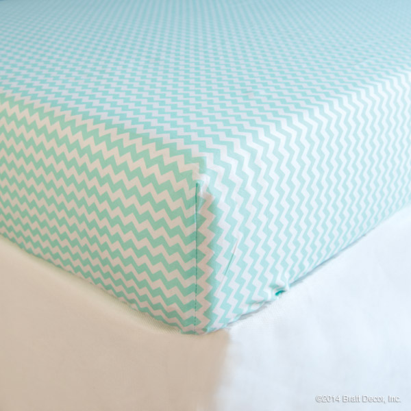 mint chevron cotton crib sheet