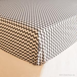 gray chevron cotton crib sheet