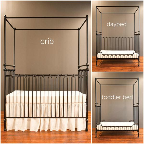 Joy Canopy Crib Distressed Black
