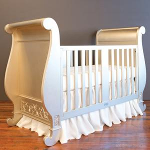 chelsea sleigh crib antique silver