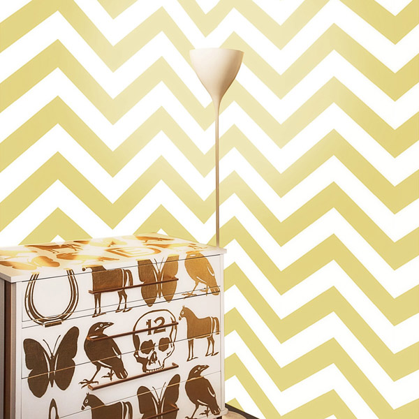 chevron wallpaper in honey