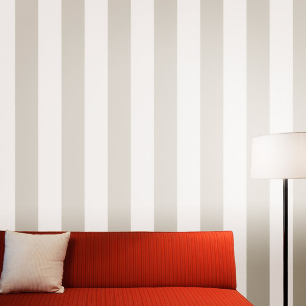 striped wallpaper in taupe