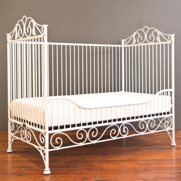 Conversion kits toddler wrought iron white metal crib