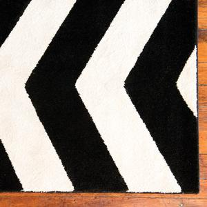 chevron black and white rug