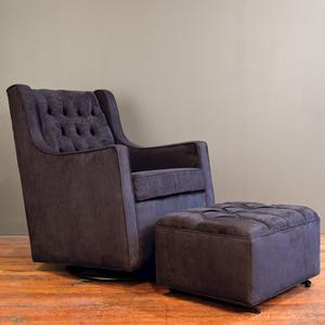 tufted glider and ottoman - black