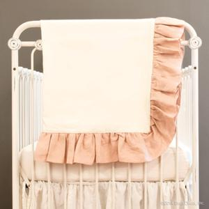 linen crib blanket - blush