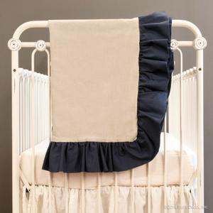 linen crib blanket - navy