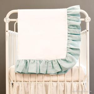 linen crib blanket - sea foam