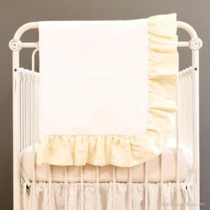 linen crib blanket - buttercream