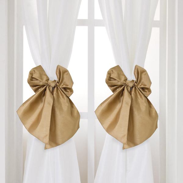 Bow Bows Faux Silk Curtains