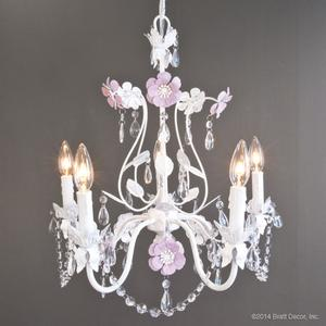 chandeliers white flowers purple iris