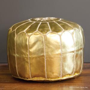 marrakech leather pouf - gold