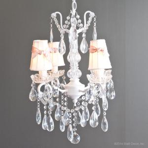 four chandeliers white light lighting