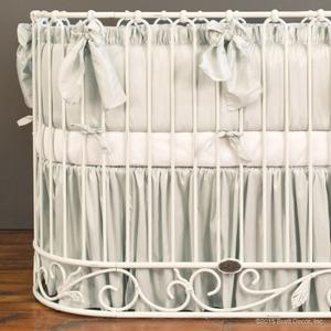 silver mist oval crib bedding collection