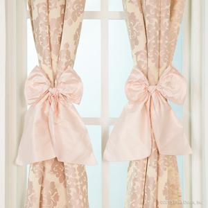 pink cream metallic curtains panel