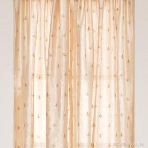 gold faux silk curtains panel