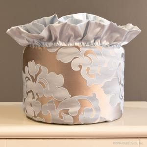 round blue metallic taupe silk