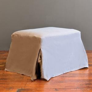slipcovered ottoman - natural linen