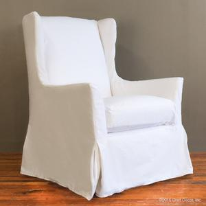slipcovered wingback glider white denim