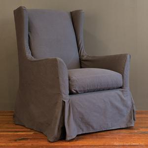 slipcovered wingback glider char denim