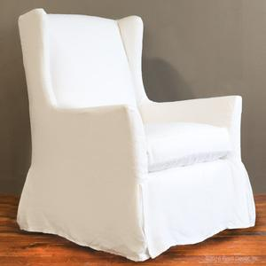 slipcovered wingback glider white linen