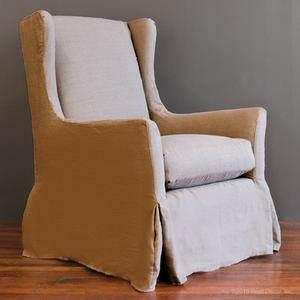slipcovered wingback glider - nat linen