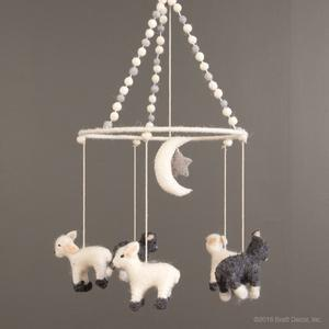felted mobile - lambs