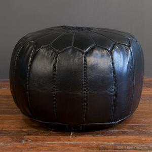 marrakech leather pouf - black