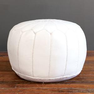 marrakech leather pouf - white