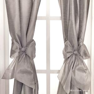 bow bows faux silk curtains