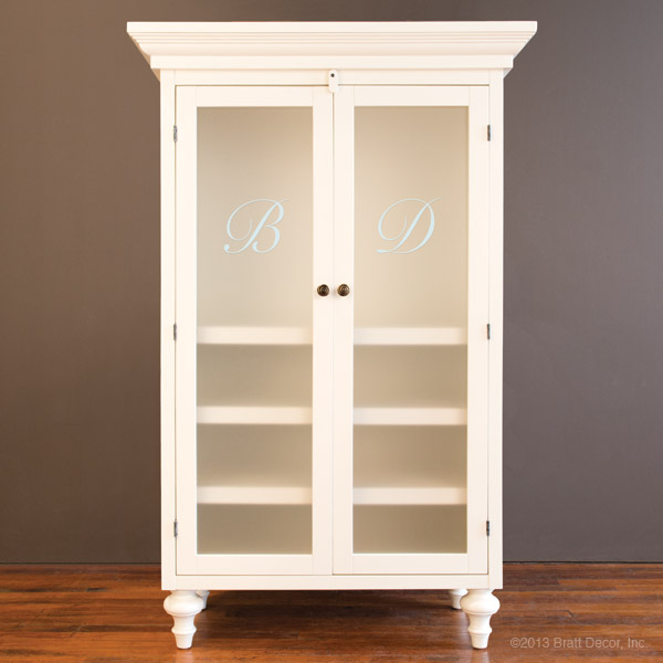 monogrammed classic armoire white