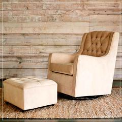 grand wheat glider and ottoman