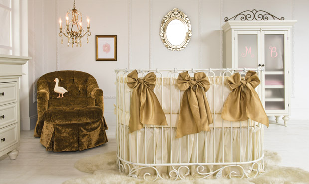 Put your feet up and relax in the plush velvet glider while sipping sweet tea and rocking your baby to sleep. Luxury and elegance define this designer space.