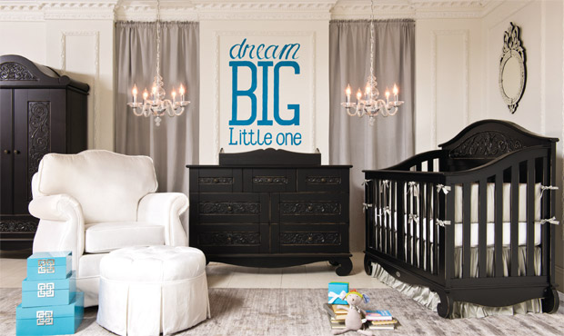 Pops of turquoise brighten up this bold black and white nursery. The crib converts to a toddler bed and full size bed, making this a room that will last. Cool gray window & floor coverings anchor the space.